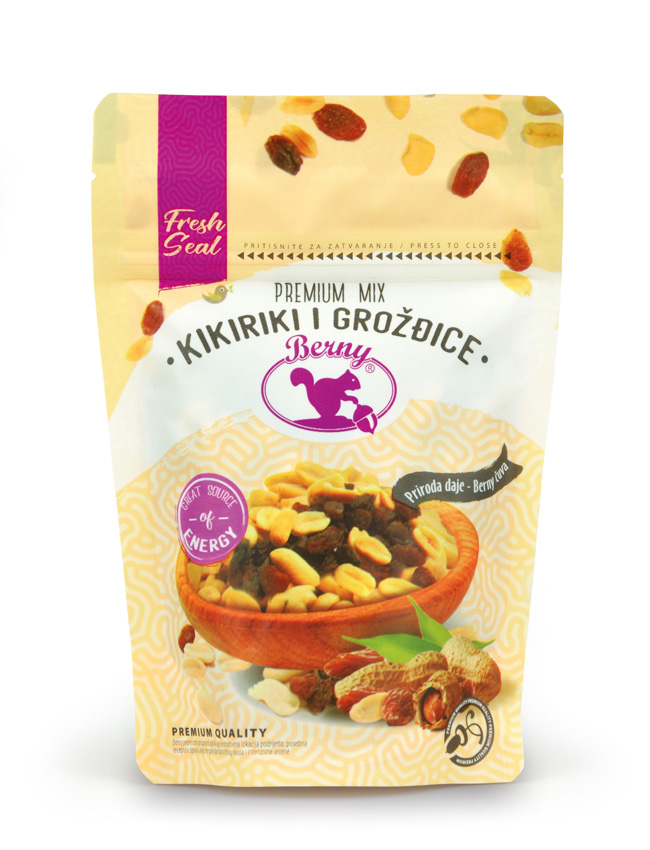 Berny - mix dried raisins and salted peanut